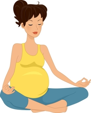 Illustration of a Pregnant Woman Meditating